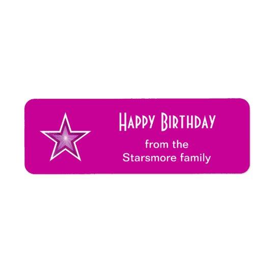 Pink Star 'Happy Birthday' text label small pink Return Address Label