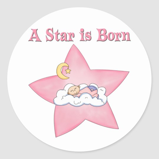 Pink  Star is Born Announcement Classic Round Sticker