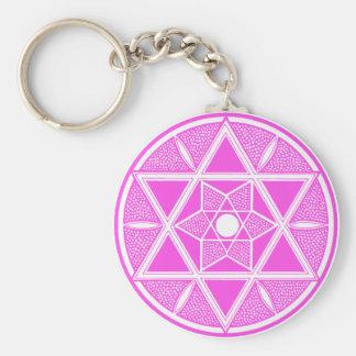 Pink Star of David Basic Round Button Key Ring