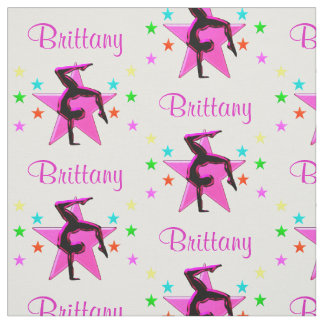PINK STAR PERSONALIZED GYMNASTICS FABRIC