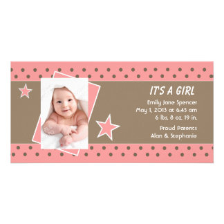 Pink Star Photo Birth Announcement Personalized Photo Card