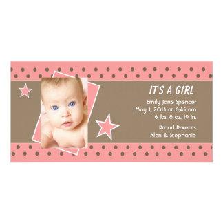 Pink Star Photo Birth Announcement Photo Card