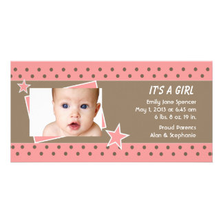 Pink Star Photo Birth Announcement Picture Card