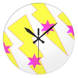 Pink Star Yellow Lightning Thunder Wall Clock