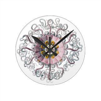 Pink starfish round clock