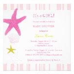 Pink Starfish, Stripes Nautical Baby Shower Invite