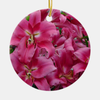 Pink stargazer lilies christmas ornament