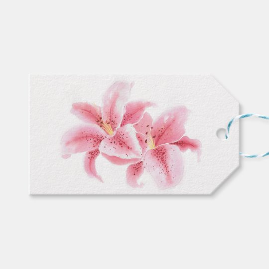 Pink Stargazer Lilies Gift Tags