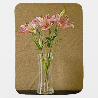 Pink Stargazer Lilies in Vase Receiving Blankets