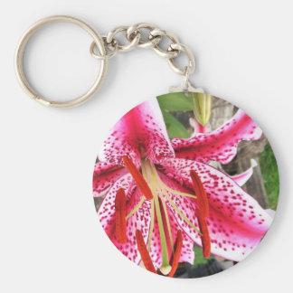 Pink Stargazer Lilly Keychain