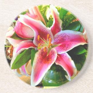 pink stargazer lily coaster