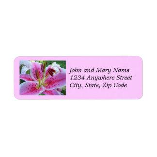 Pink Stargazer Lily Floral Address Labels