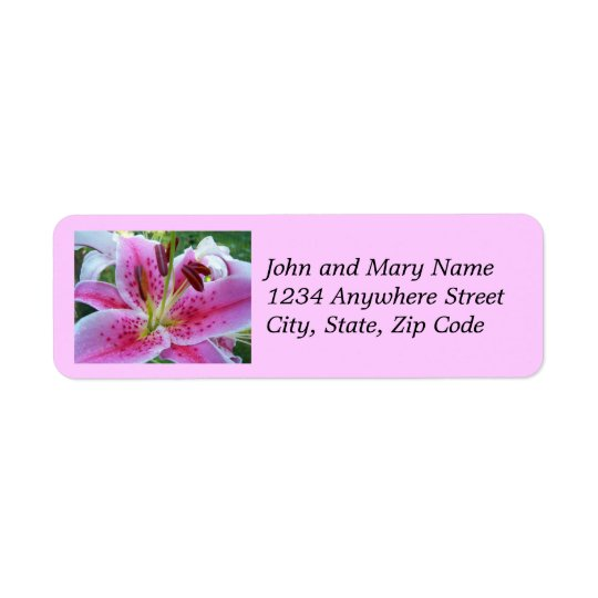 Pink Stargazer Lily Floral Address Labels