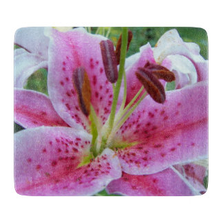 Pink Stargazer Lily Floral Cutting Board
