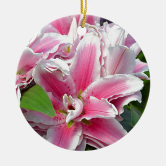 Pink stargazer lily flowers in spring christmas ornament
