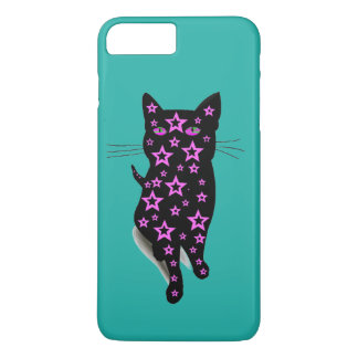 Pink Starry Black Cat Silhouette on Teal iPhone 7 Plus Case