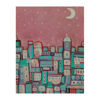 Pink Starry Sky Wood Print