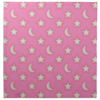 Pink stars and moons pattern napkin