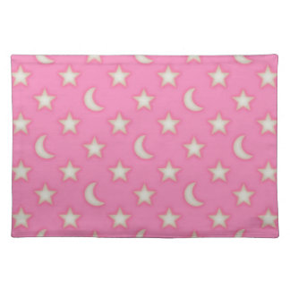 Pink stars and moons pattern placemat