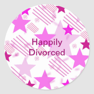 Pink Stars and Stripes Happily Divorced Round Sticker