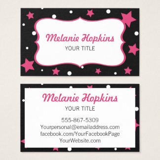 Pink Stars and White Polka Dots Business Card