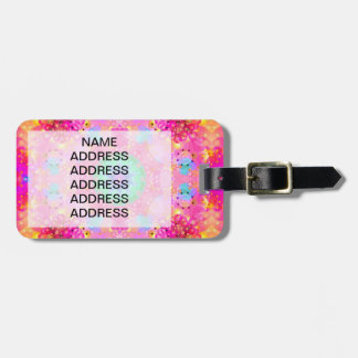 Pink Stars & Bubbles Fractal Pattern Luggage Tag