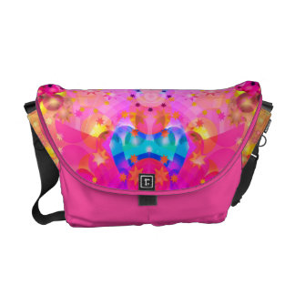 Pink Stars & Bubbles Fractal Pattern Messenger Bag