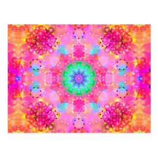 Pink Stars & Bubbles Fractal Pattern Postcard