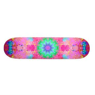 Pink Stars & Bubbles Fractal Pattern Skateboard