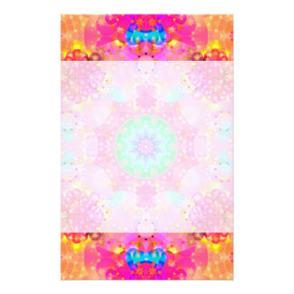 Pink Stars & Bubbles Fractal Pattern Stationery