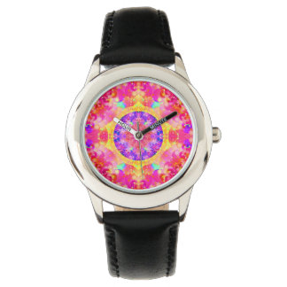 Pink Stars & Bubbles Fractal Pattern Watch