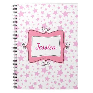 Pink Stars Doodle Frame Spiral Notebook