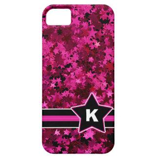 Pink Stars Glitter Photo Print Custom Monogram iPhone 5 Cases
