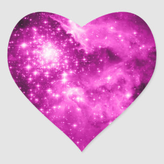 Pink Stars Heart Sticker