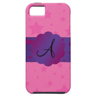 Pink stars monogram iPhone 5 cases