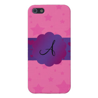 Pink stars monogram iPhone 5 covers