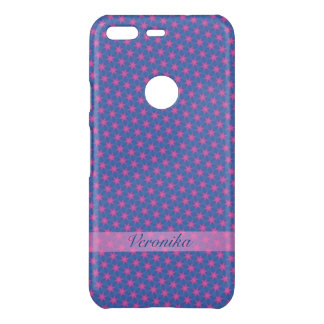 Pink stars on a blue background uncommon google pixel case