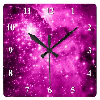 Pink Stars Square Wall Clock
