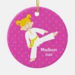 Pink Stars Taekwondo Blonde Girl Personalised Round Ceramic Decoration