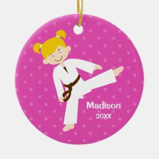 Pink Stars Taekwondo Blonde Girl Personalized Christmas Ornament