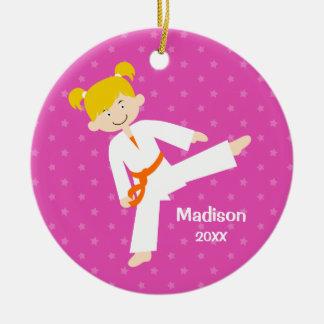 Pink Stars Taekwondo Blonde Girl Personalized Round Ceramic Decoration