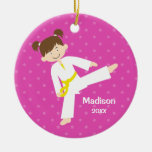 Pink Stars Taekwondo Karate Girl Personalised Round Ceramic Decoration