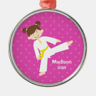 Pink Stars Taekwondo Karate Girl Personalized Christmas Ornament