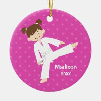 Pink Stars Taekwondo Karate Girl Personalized Round Ceramic Decoration