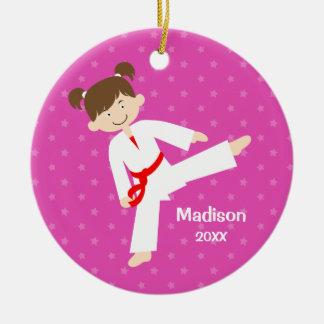 Pink Stars Taekwondo Karate Red Girl Personalized Round Ceramic Decoration