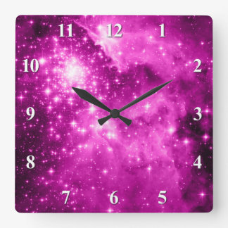 Pink Stars Wall Clocks