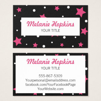 Pink Stars with White Dots Scroll Business Card