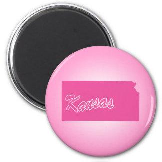 Pink State Kansas Magnet