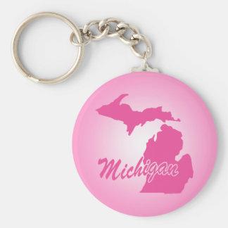 Pink State Michigan Key Ring