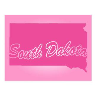 Pink State South Dakota Postcard